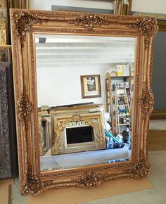 Large Wood/Resin Louis XV Rectangle Beveled Framed Wall Mirror For Above the Fireplace Wood Picture Frames, Frames On Wall, Framed Wall, 3d Mirror Wall Stickers, Wall Mirror, French Vanity, Beveled Edge Mirror, Wood Resin, Gold Wood