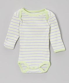 Take a look at this Kiwi & Lilac Stripe Organic Bodysuit - Infant by Under the Nile on #zulily today!