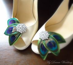 Peacock Shoe Clips. Green peacock leaves Shoe by MyDreamWedding, $59.99