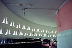 "Indian Coffee House Interior, Trivandrum, Kerala, Laurence Wilfred ""Laurie"" Baker, 1980"