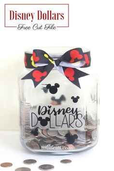 We are always planning our next trip to the parks. Our favorite thing to do to help in our efforts is to collect all our loose change in our Disney Dollars Savings Jar. Start saving for your next trip with this simple DIY. Disney Money, Disney Diy, Disney Crafts, Disney Magic, Vinyl Crafts, Vinyl Projects, Projects To Try, Jar Crafts, Disney Vacations