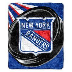 New York Rangers Blanket - 50x60 Sherpa - Puck Design
