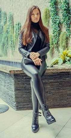 My 100th pin of a beautiful woman wearing a leather jacket