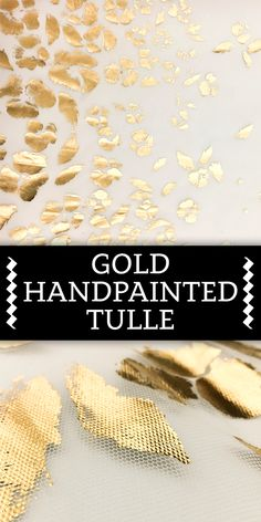 Gold Hand Painted Silk Tulle
