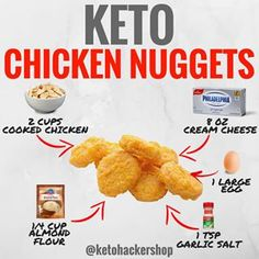 This makes 8 servings of Keto Chicken Nuggets. Per serving, it comes out to be 58 Calories, Fats, Net Carbs, and Protein. Diet Plan Menu, Keto Meal Plan, Chicken Nuggets, Cheat Meal, Cetogenic Diet, Poulet Keto, Low Carb Meal, Comida Keto, Keto Chicken