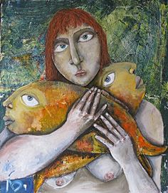 Лора Белоиван Cat Art, Fish, Cats, Artist, Painting, Facebook, Illustration, People, Parrot