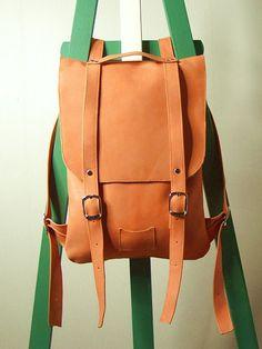 Orange leather backpack rucksack -- super cool backpack!