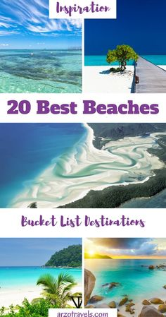 Check out these 20 amazing beaches around the world for my, and your, bucket list. From beaches in Southern America, the Caribbean, to beaches in the USA, Europe, Asia, Africa and Australia . Find stunning beaches for your next holidays.
