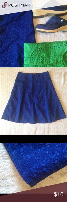 Royal Blue Eyelet Twirl Skirt 8 EUC Gorgeous eyelet skirt! Bought in Montréal.   Side zip. Size 8. Excellent used condition. Jessica Skirts A-Line or Full