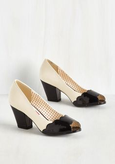 So Fondant of You Heel. Dessert tasting leaves you giddy, but its these heels by Bait Footwear that leave you walking on a cloud. #black #wedding #modcloth