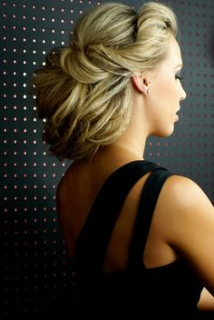 Beautiful up-do with subtle crimped pieces. (@Tonya Potts Bella http://blog.hairandmakeupbysteph.com/2010/09/krysti.html)