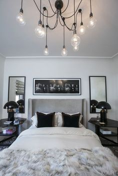 Bedding to Go with Grey Headboard . Bedding to Go with Grey Headboard . Kourtney Kardashian S Guest Bedroom Grey Headboard Black Grey Bedroom Set, Modern Grey Bedroom, Silver Bedroom Decor, Bedroom Minimalist, Home Decor Bedroom, Bedroom Ideas, Bedroom Designs, Bedroom Furniture, Master Bedroom