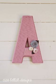 Shabby Chic Yarn Wrapped Letters- Personalized- Listing for singles- Baby Gift- Shabby Chic Nursery Decor- Shabby Chic Baby Shower- pink on Etsy, $15.00