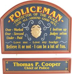 Vintage style personalized sign for policeman.
