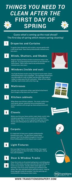 Top 10 things to clean in the spring. Cleaning Recipes, Diy Cleaning Products, Cleaning Hacks, Cleaning Lists, Cleaning Closet, Spring Cleaning List, Types Of Window Treatments, Organization Hacks, Organizing Tips