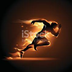 Running man in flame illustration in vector Sports Graphic Design, Graphic Design Trends, Gym Banner, Fitness Motivation Wallpaper, Gym Design, Anatomy Art, Running Man, Photoshop Design, Dark Fantasy Art