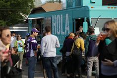 Activating space with food trucks.
