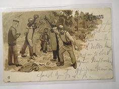 Mensur IM Freien Gruss 1899 Studenten Beim Fechten Studentika | eBay