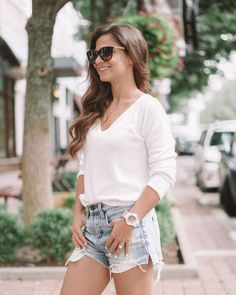 White sweater, how to wear tennis shoes, white sweater and jean shorts, how to style jean shorts, How to style the new rose gold transparent watch, gshock watch, gshock, Women's g-shock watch, how to style a white watch, white watch styling tips, I love a white watch