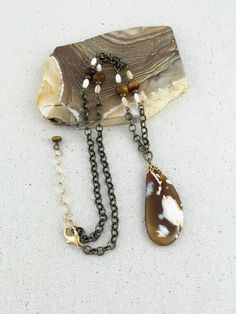 Ivory and Caramel Agate Pendant Necklace on Strand of by Rock2Gems