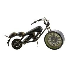 Three Star Metal Copper Harley Bike Table Clock, 13 (Brown)