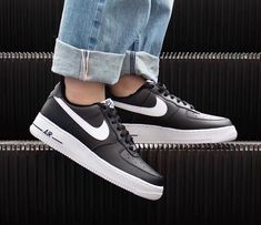 The black and white leather Air Force 1 07 low-top sneakers from Nike features a round toe, a flat rubber sole, a lace fastening, a signature Nike swoosh and a branded insole. Air Force 1, Nike Air Force, Hype Shoes, White Leather, Kicks, Sneakers Nike, Black And White, Heels, Stuff To Buy