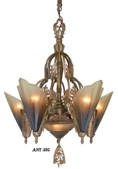 Antique Art Deco Slip Shade Soleure 6-Light Chandelier. This is the 6 light Soleure chandelier. Mid West only made the best quality lighting. This chandelier is solid bronze with a great original finish.