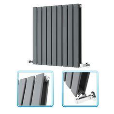 635mm x 630mm - Anthracite Landscape Double Panel Designer Radiator - Slimline Panels - Image 1