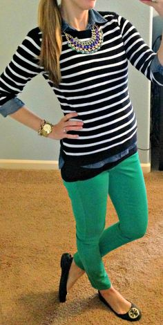 I have a black and (grey) striped top similar to this sweater - super cute to pair with colorful skinny pants!