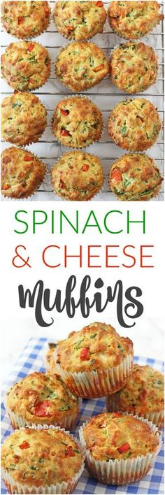 Delicious savoury muffins packed full of vegetables like spinach and peppers; perfect for a family lunch or a kids afternoon snack!