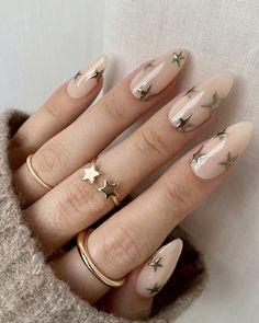 Gold Nail Designs, Almond Nails Designs, Pretty Nail Designs, Almond Acrylic Nails, Best Acrylic Nails, Chrome Nails, Gold Nails, Cute Nails, Pretty Nails