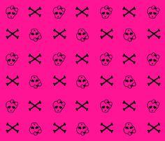Pink Girly Skulls fabric by blakelock on Spoonflower - custom fabric