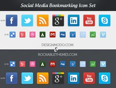 Sociality is the world's first full pack of Social Media Icons available in CSS3. This set contains 34 most popular social networks/bookmarking sites icons.