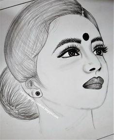 Pencil Drawings Of Girls, Music Drawings, Girly Drawings, Colorful Drawings, Girl Face Drawing, Girl Drawing Sketches, Art Drawings Sketches Simple, Indian Drawing, Beautiful Girl Drawing