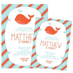 Whale Party Invitations by Cranberry Design on etsy