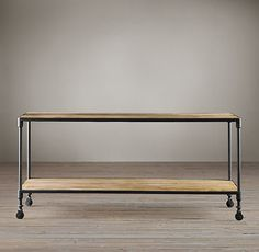 """Dutch Industrial Console Tables - from RH - one we already have.  If we could make the 42"""" work, $590 plus shipping, etc."""