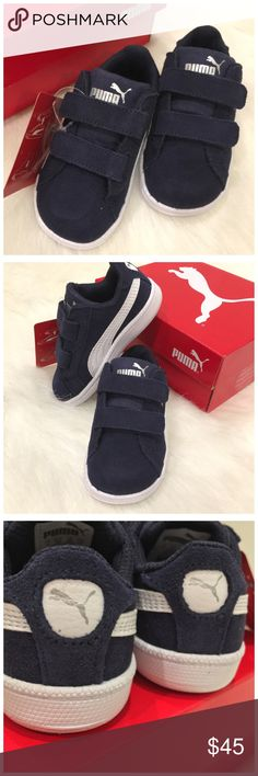 Puma Smash FUN SD V Z Inf (Toddler Boys) BNIB/NWTPuma Smash FUN SD V Z Inf (Baby Boys) Color: Peacoat-Puma White Size: US 5C #362090 02 Price firm due to fees CHECK OUT THE TWO (2) PUMA TWO-PIECE SHIRT/PANT SET(S) LISTED! BUNDLE AND SAVE! GREAT GIFT IDEA! Puma Shoes Sneakers
