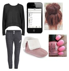 """""""casual day"""" by lovegiraffes123 ❤ liked on Polyvore featuring interior, interiors, interior design, dom, home decor, interior decorating, T By Alexander Wang, NIKE i OPI"""