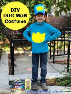 Dog Man Costume this easy no-sew costume based on the Dog Man Series. #DogMan #nosewcostumes #CricutCreated #CricutCostumes