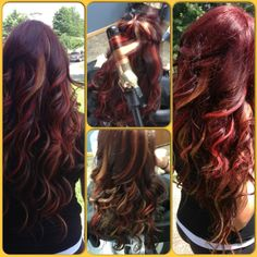 Fun with hair color! Red base with red and blonde peekaboo highlights!