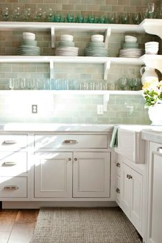 HAMPTONS LIVING: My kind of perfect Butlers Pantry, open wall shelves & cupboards below. White cabinets, pastel subway tile, simple & unfussy