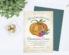 DIY Thanksgiving Invitation  Editable Text MS Word by VGInvites #Invitations you can #edit.