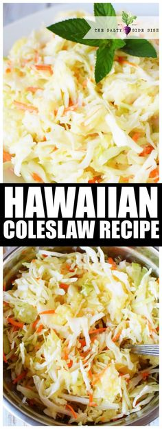 Hawaiian Coleslaw Recipe | Authentic and Sweet Coleslaw with Pineapple and Brown Sugar #sidedish #Hawaiian #sweet #recipe #sidedish #BBQ #party Hawaiian Coleslaw, Pineapple Coleslaw, Sweet Coleslaw Recipe With Pineapple, Pineapple Recipes, Hawaiian Side Dishes, Side Dishes For Bbq, Hawiian Food, Hawiian Recipes, Hawaiian Food Recipes