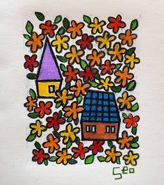 """좋아요 80개, 댓글 8개 - Instagram의 Youyeong.Seo(@blibla_art)님: """". 결혼. Wedding 👰❤🤵 . . . #wedding #결혼 #doodles #doodling #thumbnail #house #illust #illustration…"""""""