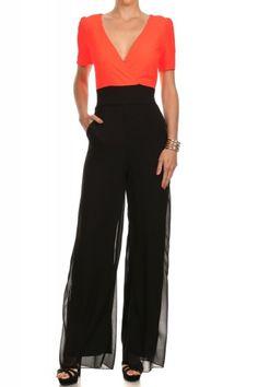 Peach Short Sleeve Full Length Wide Leg Jumpsuit (FREE SHIPPING)