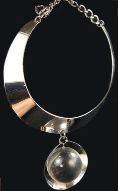 Trifari Modernist Chrome Crescents and Pendant Crystal Ball Choker Necklace, 1960's - 70's