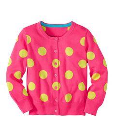 Love this Pink Garden Polka Dot Cardigan - Infant, Toddler & Girls on #zulily! #zulilyfinds