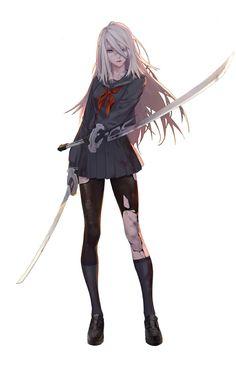 Anime art katana Nier Automata fan art,well done! Manga Girl, Art Manga, Anime Art Girl, Manga Anime, Anime Girls, Nier Automata A2, Neir Automata, Chibi, Girls Characters