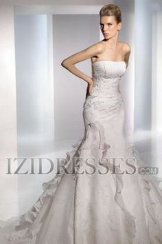 A-Line Empire Strapless Sweetheart Organza A-Line Wedding Dresses