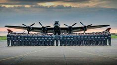 RAF's Queen's Colour Squadron lines up in front of the Lancaster aircraft. Aircraft Propeller, Ww2 Aircraft, Military Aircraft, Lancaster Bomber, Heritage Museum, Battle Of Britain, Royal Air Force, Military History, Armed Forces